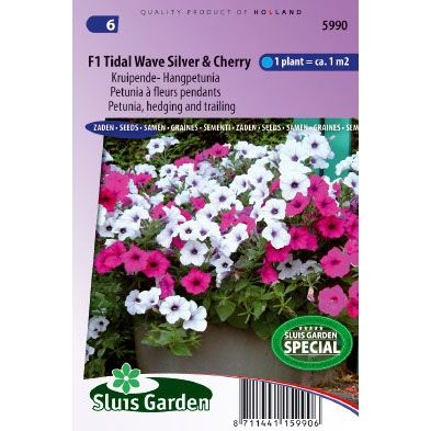 Petunia zaden tidle wave silver and cherry